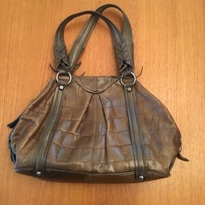 Francesco Biasia crocodile embossed shoulder bag